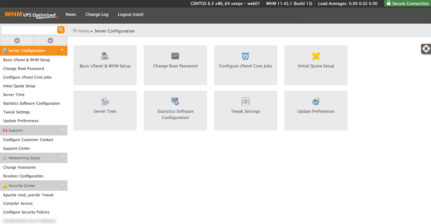 cPanel VPS Screenshot