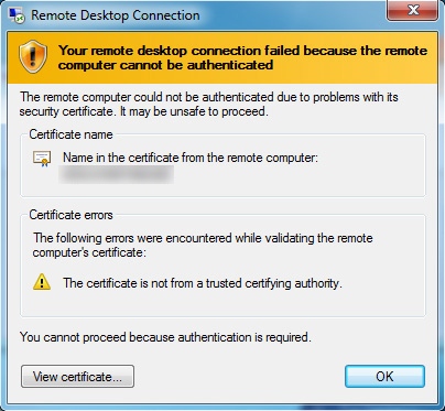 Your remote desktop connection failed because the remote