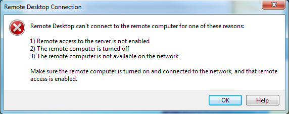 Remote desktop connection can't connect to the remote